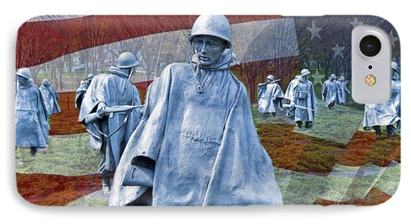 Korean War Veterans Memorial Bronze Sculpture American Flag IPhone Case by David Zanzinger