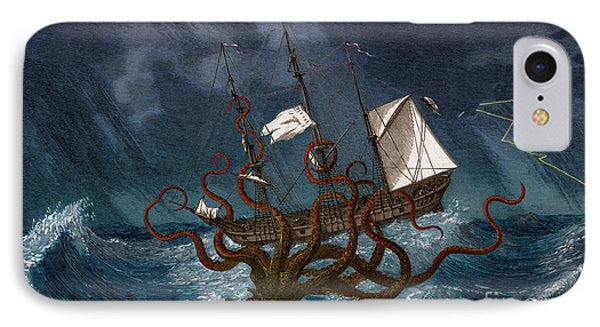 Kraken Attacking Ship, 1700 IPhone Case