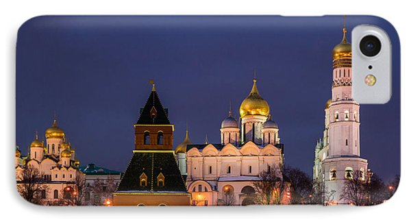 Kremlin Cathedrals At Night - Featured 3 Phone Case by Alexander Senin