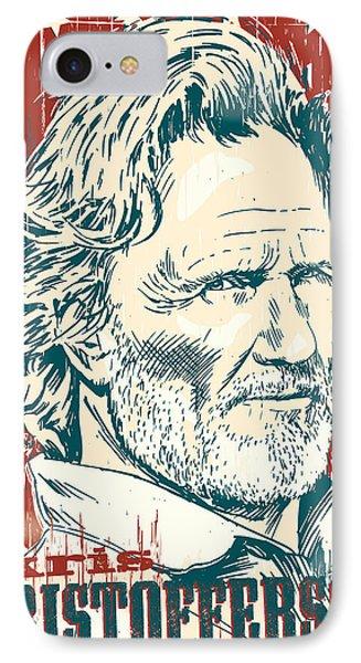 Kris Kristofferson Pop Art IPhone 7 Case by Jim Zahniser