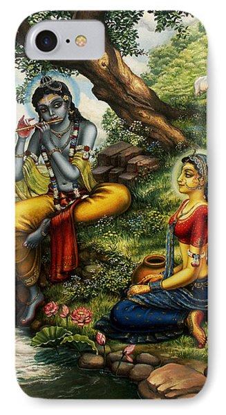 Krishna With Radha Phone Case by Vrindavan Das