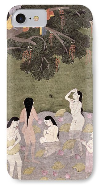 Krishna With The Cow Girls Clothes, Tehri-garhwal, C.1820-30 Wc On Paper IPhone Case by Pahari School