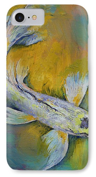 Kujaku Butterfly Koi IPhone Case by Michael Creese