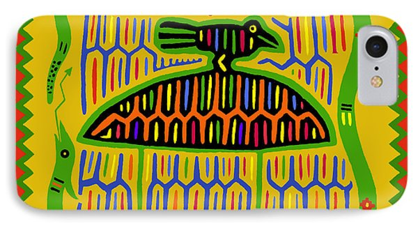 IPhone Case featuring the digital art Kuna Bird With Snake by Vagabond Folk Art - Virginia Vivier