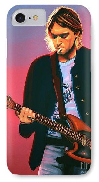 Kurt Cobain In Nirvana Painting IPhone 7 Case by Paul Meijering