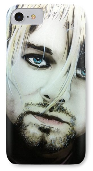 Kurt Cobain - ' Kurt V ' IPhone Case by Christian Chapman Art