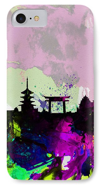 Kyoto Watercolor Skyline IPhone Case