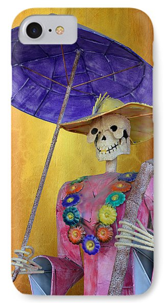 IPhone Case featuring the photograph La Catrina With Purple Umbrella by Christine Till
