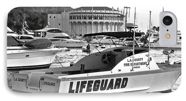 L A County Lifeguard Boat B W IPhone Case by Jeff Gater