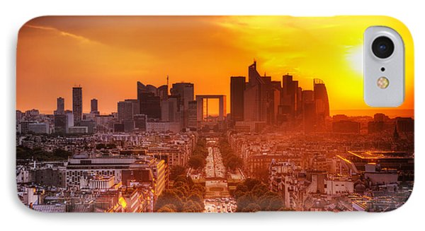 La Defense And Champs Elysees At Sunset Phone Case by Michal Bednarek