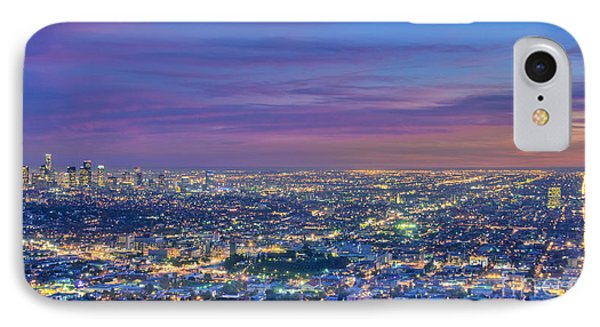 La Fiery Sunset Cityscape Skyline IPhone Case by David Zanzinger