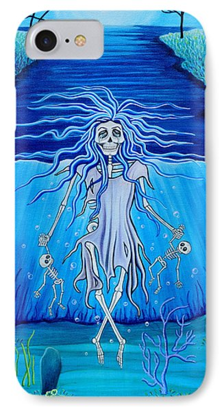 IPhone Case featuring the painting La Llorona Arrepentida by Evangelina Portillo