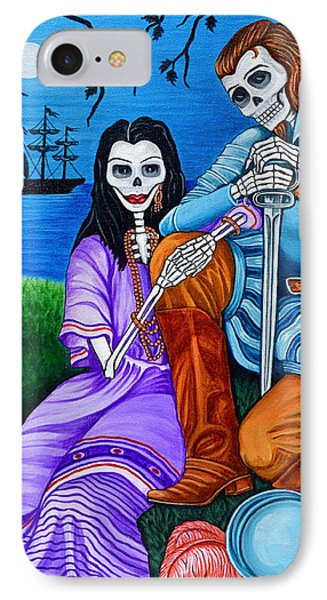 IPhone Case featuring the painting La Malinche Y Cortes by Evangelina Portillo