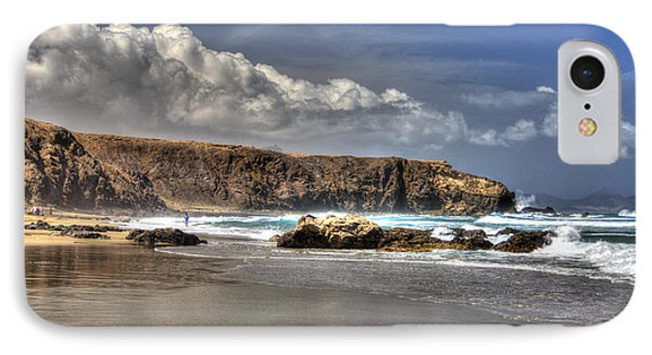 IPhone Case featuring the photograph La Pared Cliff And Rocky Beach On Fuertaventura Island by Julis Simo