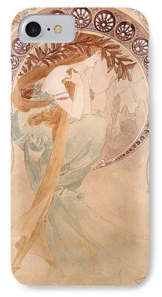 La Poesie,  Watercolour On Paper IPhone Case by Alphonse Marie Mucha