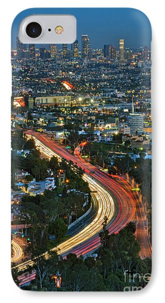 La Skyline Night Magic Hour Dusk Streaking Tail Lights Freeway IPhone Case by David Zanzinger