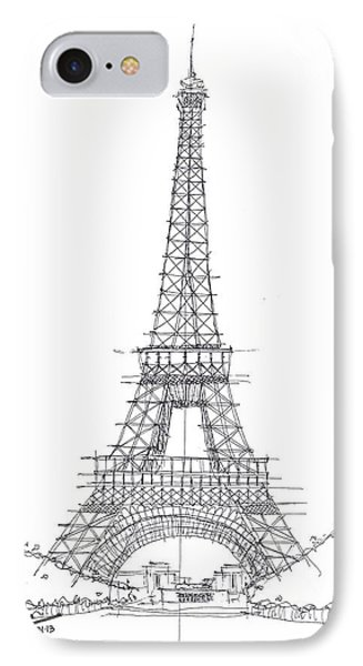 IPhone Case featuring the drawing La Tour Eiffel Sketch by Calvin Durham
