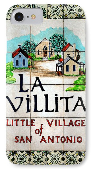 La Villita Tile Sign On The Riverwalk San Antonio Texas Watercolor Digital Art IPhone Case by Shawn O'Brien