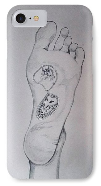 IPhone Case featuring the drawing Labyrinth Foot Pie Laberinto by Lazaro Hurtado