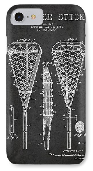 Lacrosse Stick Patent From 1950- Dark IPhone Case