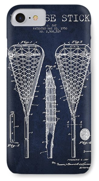 Lacrosse Stick Patent From 1950- Navy Blue IPhone Case