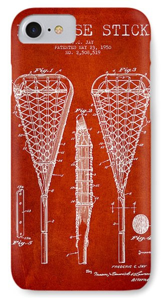 Lacrosse Stick Patent From 1950- Red IPhone Case
