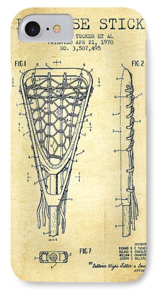 Lacrosse Stick Patent From 1970 -  Vintage IPhone Case by Aged Pixel