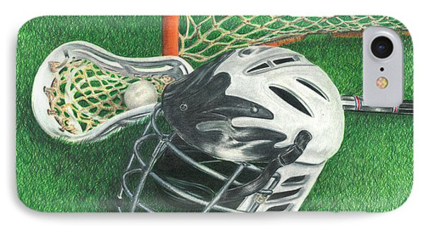 IPhone Case featuring the drawing Lacrosse by Troy Levesque