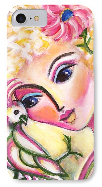 IPhone Case featuring the painting Lady And Cockatiel by Anya Heller
