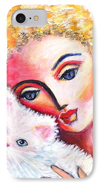 IPhone Case featuring the painting Lady And White Persian Cat by Anya Heller