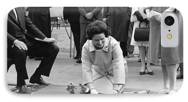 Lady Bird Johnson Planting Phone Case by Underwood Archives