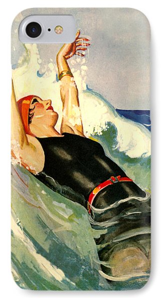 Lady Relaxing Into Waves - At The Beach America IPhone Case by Private Collection