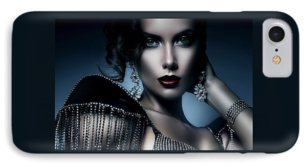 Lady Green Eyes IPhone Case by Karen Showell
