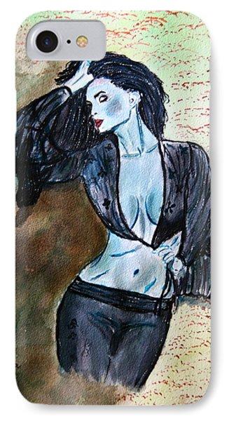 Lady In Blue IPhone Case by Shlomo Zangilevitch