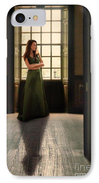 Lady In Green Gown By Window IPhone Case by Jill Battaglia