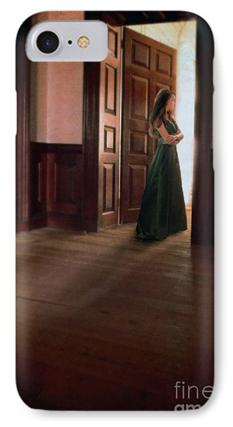 Lady In Green Gown In Doorway Phone Case by Jill Battaglia