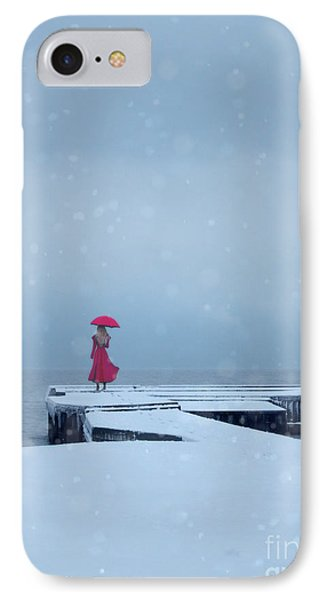 Lady In Red On Snowy Pier IPhone Case