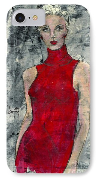 Lady In Red IPhone Case by P J Lewis