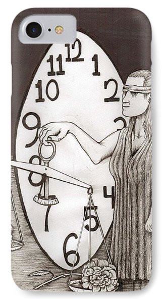 Lady Justice And The Handless Clock IPhone Case