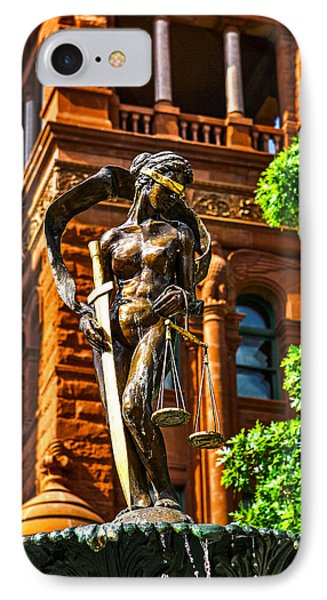 Lady Justice Fountain IPhone Case by Greg Sharpe