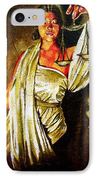 Lady Justice Sepia IPhone Case by Laura Pierre-Louis