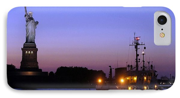 IPhone Case featuring the photograph Lady Liberty At Dusk by Lilliana Mendez