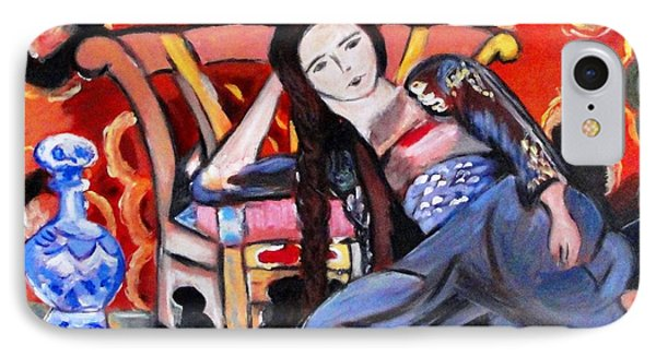Lady Sitting On Floor IPhone Case by Helena Bebirian