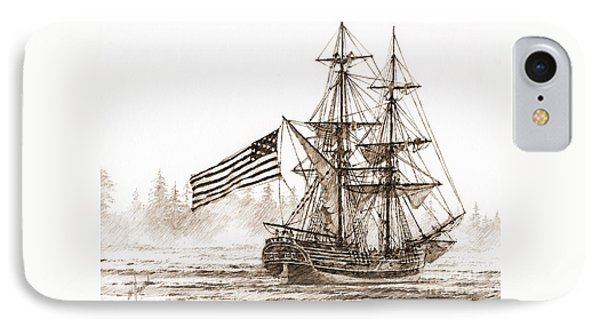 Lady Washington At Friendly Cove Sepia Phone Case by James Williamson
