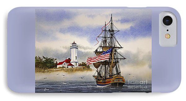 Lady Washington At Point Wilson Lighthouse IPhone Case by James Williamson