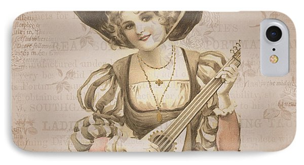 Lady With Music Roses Background IPhone Case by Art World