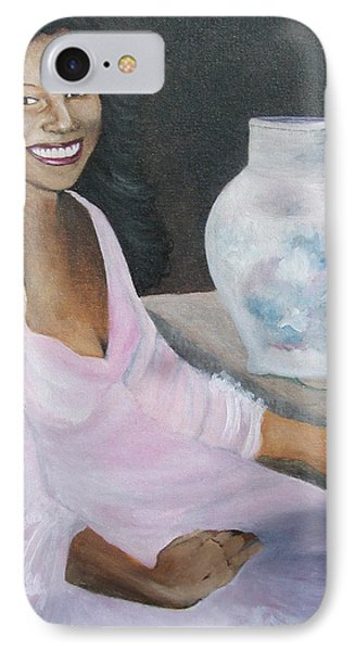 Lady With Pink Rose IPhone Case