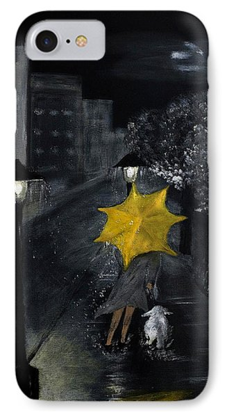 Lady With Yellow Umbrella And White Dog IPhone Case