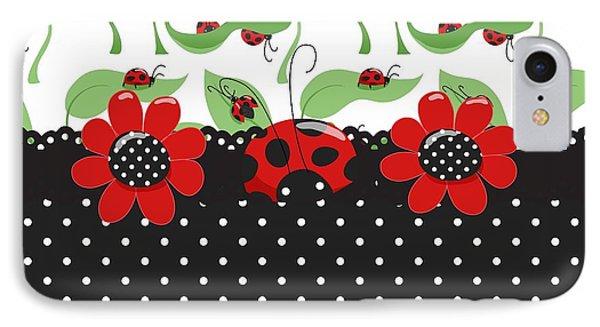 Ladybug Flower Power IPhone Case by Debra  Miller