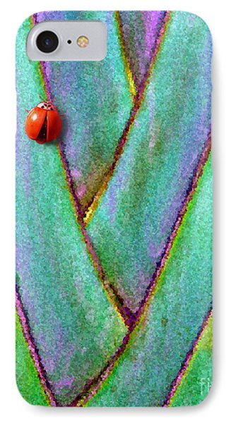 IPhone Case featuring the photograph Ladybug On Palm by Mariarosa Rockefeller